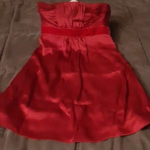 Satin Red Strapless Dress
